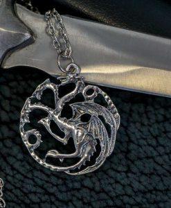 Game of Thrones House Targaryen Silver Dragon Pendant Necklace