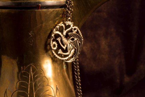 Game of Thrones House Targaryen Antique Gold Dragon Pendant Necklace