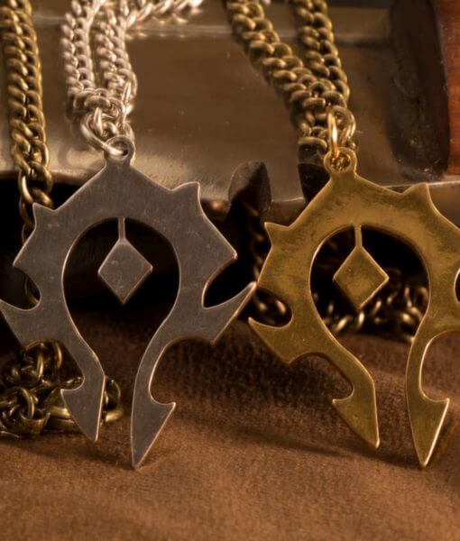 World of WarCraft Inspired Horde Symbol Pendant / Necklace Silver