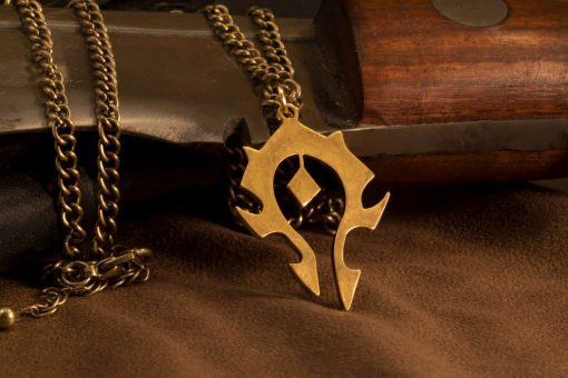 World of WarCraft Inspired Horde Symbol Pendant / Necklace Gold