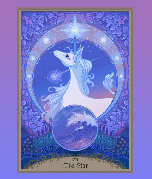 The Last Unicorn Official Licensed Illustrated Tarot Deck Peter S Beagle Schmendrick Molly Grue Red Bull 5