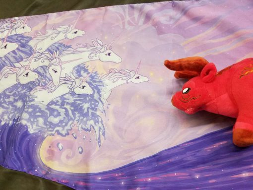 Last Unicorn Scarf Ocean Waves Sea Red Bull Plush