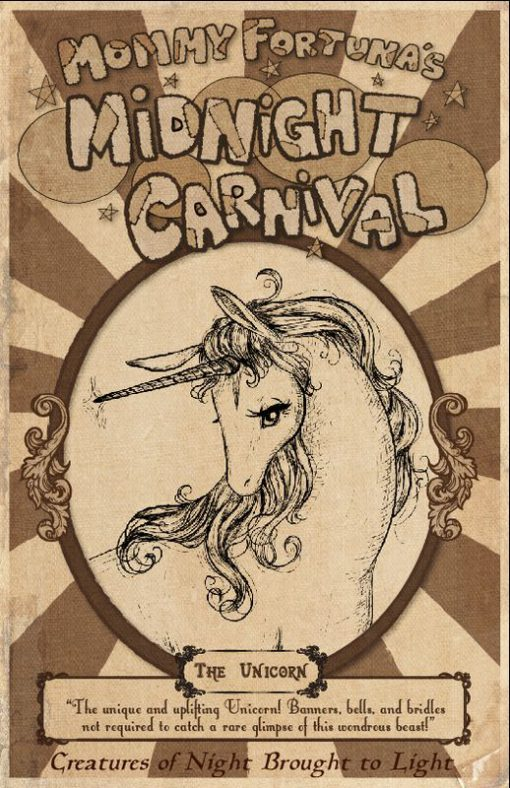 The Last Unicorn Mommy Fortunas Midnight Carnival Posters Unicorn Harpy Satyr Dragon1