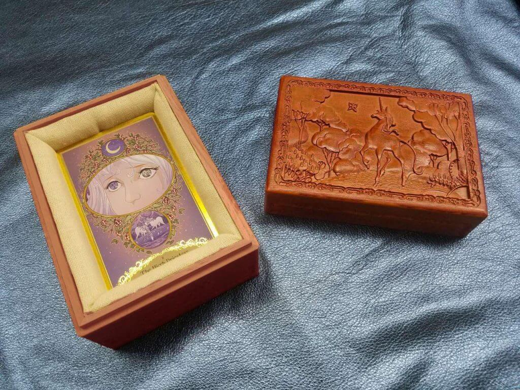 Last Unicorn Tarot Card Carved Ornate Deck Box